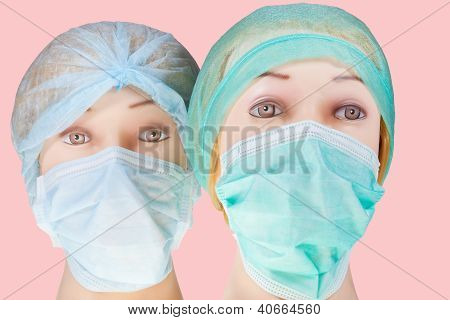 two women's dummy doctor heads