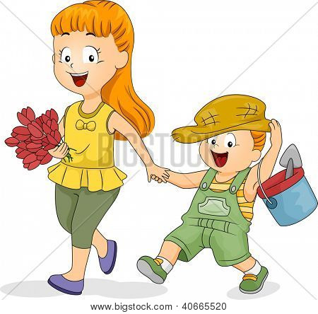 Illustration of a Girl Taking Her Younger Brother Gardening