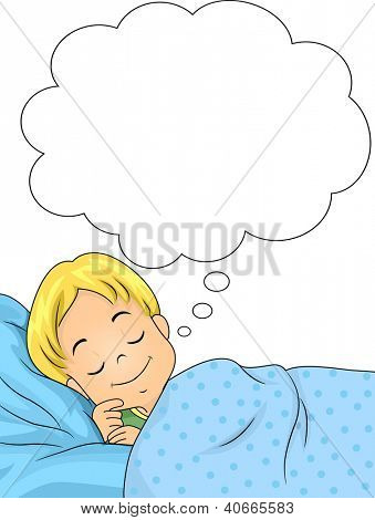 Illustration of a Dreaming Boy with a Smile on His Face
