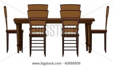 Illustration of a wooden dinning table on white