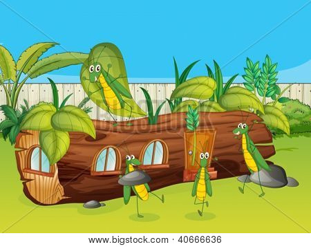Illustration of a wood house and grasshoppers in a beautiful nature