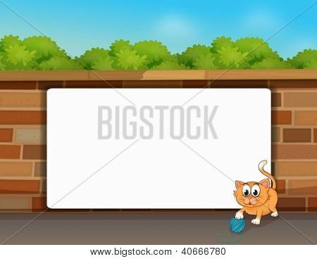 Illustration of a cat and a white board in a beautiful nature