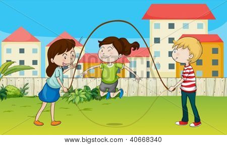 Illustration of kids playing rope in a beautiful nature