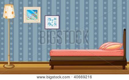 Illustration of a bed and a lamp in a room