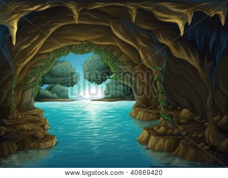 Ilustração de uma caverna e uma água em uma bela natureza