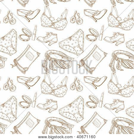 Seamless pattern of female subjects - underwear, cosmetics, shoes
