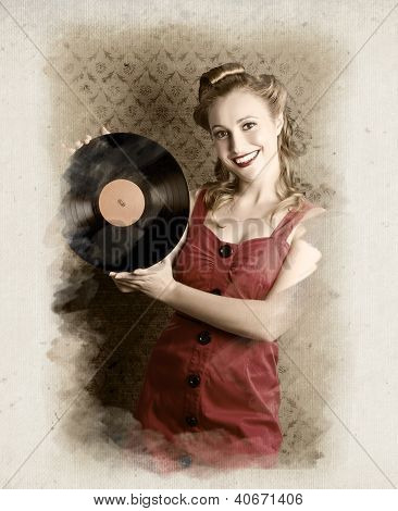 Pin-up Rockabilly Woman Holding Vinyl Record Lp