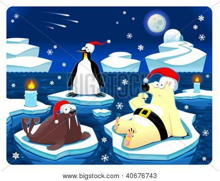 Navidad en el Polo Norte. Ilustración de dibujos animados y vector graciosa