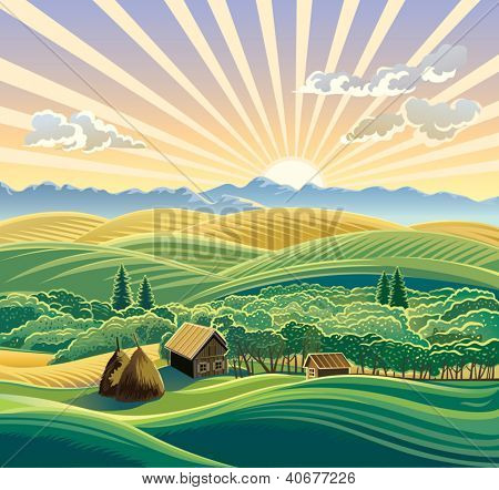 Rural landscape with a hut