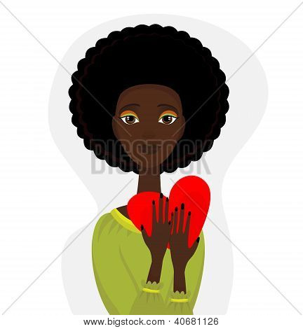 Vector Portrait Of Afro Funky Woman  With Heart