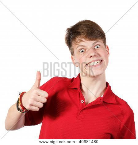 Boy In Red Shirt Showing Thumbs Up