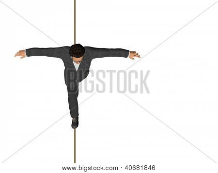 High resolution concept or conceptual 3D human male or businessman walking on rope isolated on white background