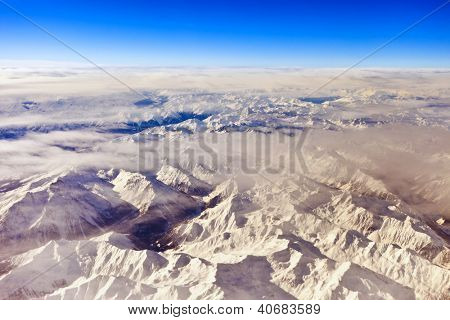 aerial view of alps along swiss, austrian border