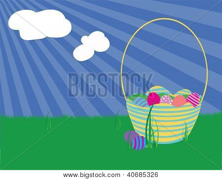 Easter Basket And Eggs On A Grassy Field On A Spring Day.