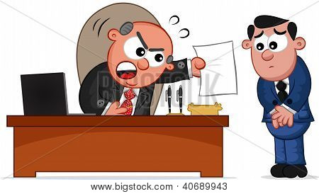 Business Cartoon - Boss Man Shouting at Employee