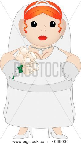 Cute Chubby Cartoon Bride
