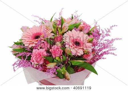Colorful Flower Bouquet Arrangement Centerpiece In Vase Isolated On White Background