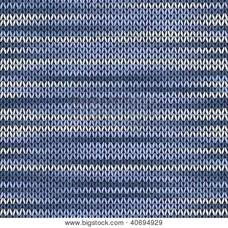Style Seamless Knitted Pattern. Blue Silver White Color Illustration From My Large Collection Of Sam