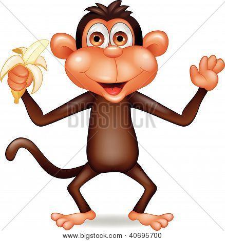 Dibujos animados mono lindo comer plátano