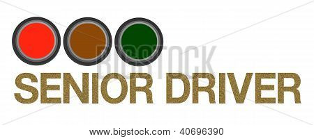 Stop Light Signal With Senior Driver Sticker