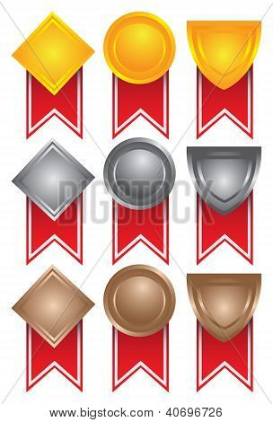 Collection Of Medals In Gold, Silver And Bronze.