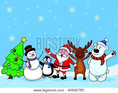 Santa clause and friends waving