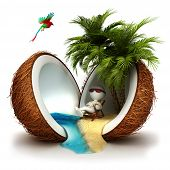 image of bird paradise  - 3d white people relaxed in a coconut paradise - JPG
