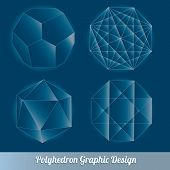 image of tetrahedron  - Set vector polyhedron for graphic design element - JPG