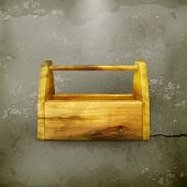 Empty wooden tool box old-style vector