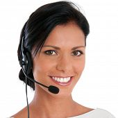 stock photo of helpdesk  - Smiling call center young woman ready for support and contact - JPG