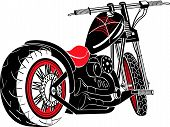 stock photo of rockabilly  - Motorcycle Clip Art of a Vintage Style Custom Chopper - JPG