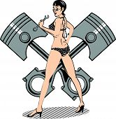 image of piston-rod  - Retro Clipart of a Sexy - JPG