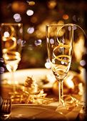 stock photo of sparkling wine  - Picture of Christmas table setting - JPG