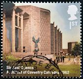 UNITED KINGDOM - CIRCA 2012: A stamp printed in Great Britain shows Coventry Cathedral Basil Spence