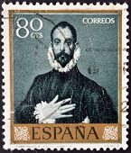 SPAIN - CIRCA 1961: A stamp printed in Spain shows Nobleman with his Hand on his Chest by Greco circ