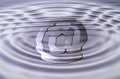 foto of muzzy  - A web symbol under water symbolizing misty ways on the www - JPG