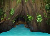 stock photo of epiphyte  - Illustration of a cave and water in a beautiful nature - JPG