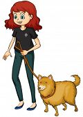 image of friendship belt  - Illustration of a smiling girl and a dog on a white background - JPG