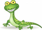stock photo of lizard skin  - Vector illustration of cute green lizard cartoon - JPG