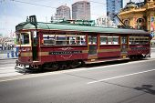 MELBOURNE, AUSTRALIA - OCTOBER 29: Vintage tram at Iconic Flinders Street Station which was complete