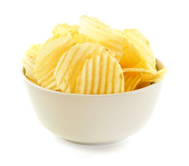 pic of potato chips  - Bowl of potato chips isolated on white background - JPG