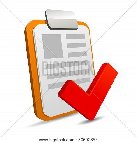 Clipboard with checklist on white background