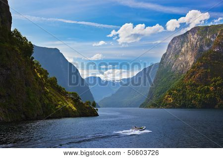 Fjord Naeroyfjord In Norway - Famous Unesco Site