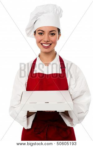 Attractive Asian Female Chef Delivering Pizza