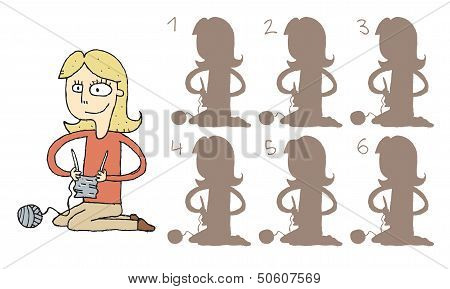 Girl Knitting Shadows Visual Game