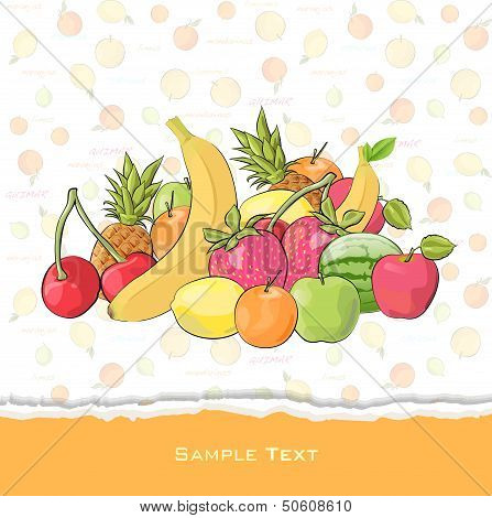 Fruit Collection. Isolated Vector Illustration.