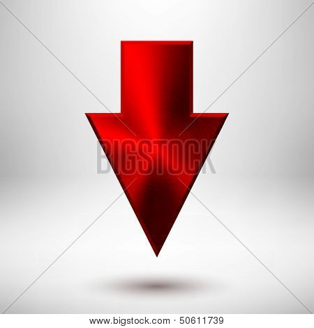 Down Arrow Sign with Red Metal Texture