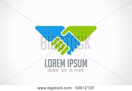 Handshake abstract logo vector design template. Business creative concept. Deal, contract, team icon