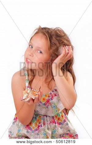 Attractive Little Girl With Seashell And Starfish