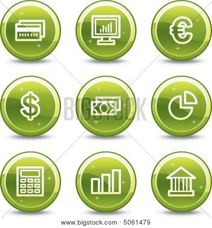 Finance Web Icons, Green Glossy Circle Buttons Series Set 2